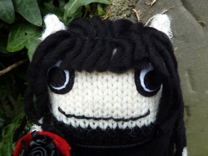 Goth Beastie Closeup - CrawCrafts Beasties