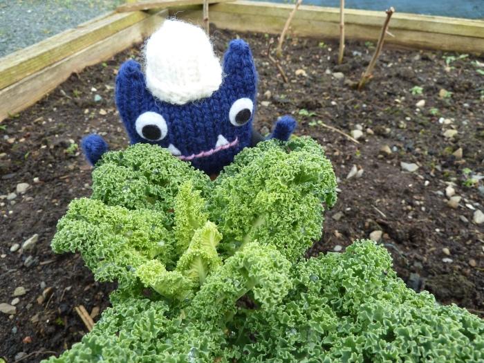 Explorer Beastie in the Kale