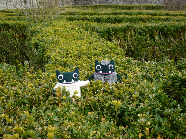 Paddy & Plunkett in the Knot Garden at Tully Castle - CrawCrafts Beasties/Heather Crawford