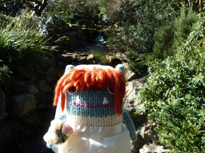 Bride Beastie at the Miniature Waterfall - CrawCrafts Beasties
