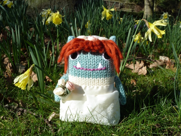 Bride Beastie with Daffodils - CrawCrafts Beasties