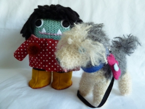 Dog Lover Beastie with her Dog by CrawCrafts Beasties