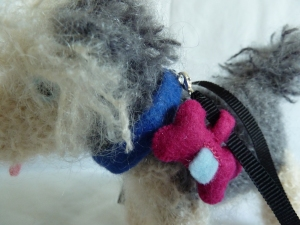 Old English Beastdog with collar, lead and bag dispenser, by CrawCrafts Beasties