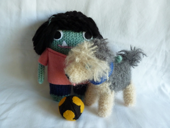 Neurosurgeon Beastie Relaxes with her Beastdog, by CrawCrafts Beasties