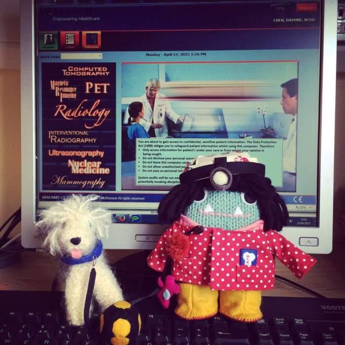 Dog Lover/Neurosurgeon Beastie in her new home - CrawCrafts Beasties/D Chen