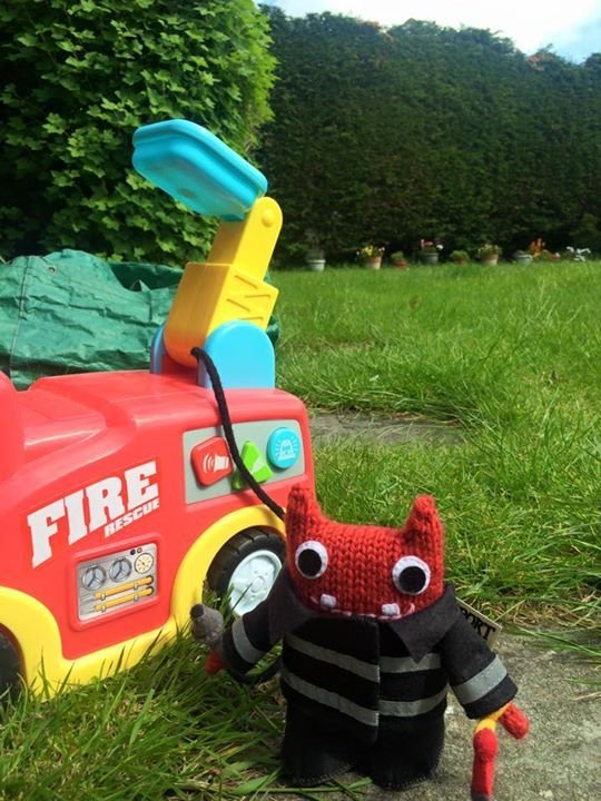 Fireman Beastie With Fire Engine - T Rafter/CrawCrafts Beasties