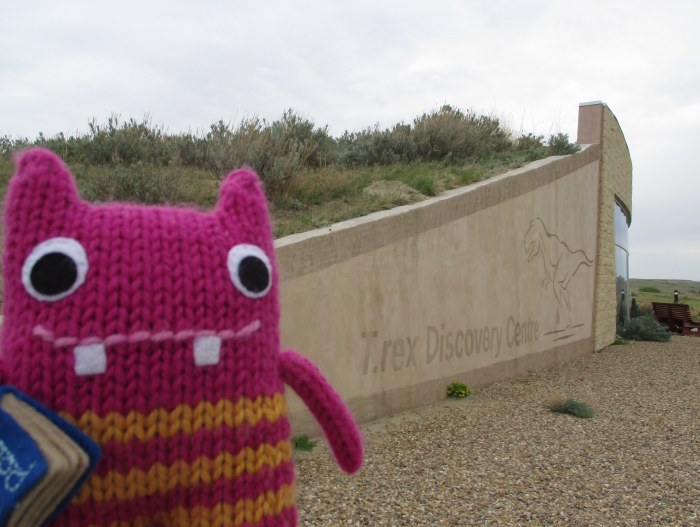 Reader Beastie at the T-rex Discovery Centre - N Couture/CrawCrafts Beasties