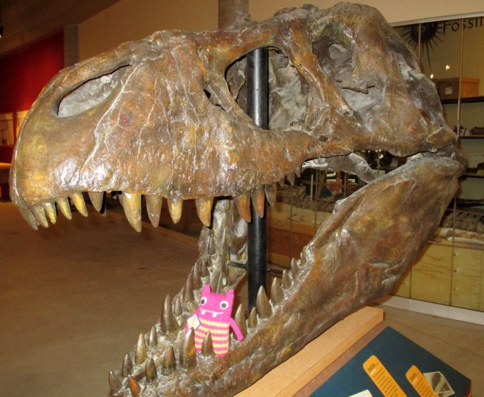 Reader Beastie with a T-rex Skull - N Couture/CrawCrafts Beasties