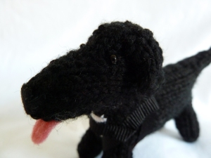 Black Lab Beastiedog Closeup - CrawCrafts Beasties