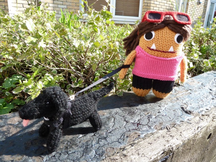 Tracy Beastie with her Dog - CrawCrafts Beasties