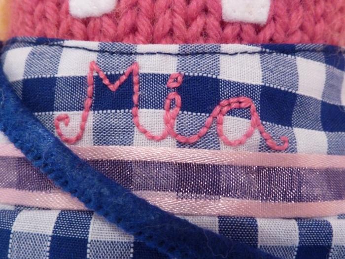 Closeup of Embroidery on Mia's Beastie's Dress - CrawCrafts Beasties
