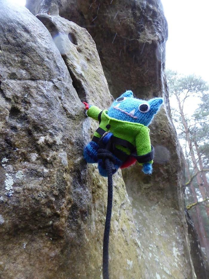 Climber Beastie in Fontainebleau - J Donaldson/CrawCrafts Beasties