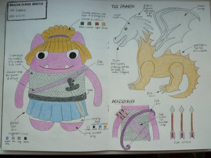 Dragon Slayer Beastie Sketches y CrawCrafts Beasties