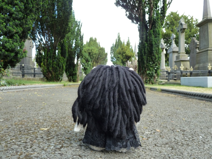 Goth Beastie Walking Through Glasnevin Cemetery - CrawCrafts Beasties