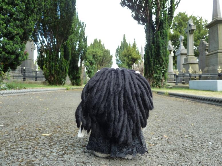 Goth Beastie Walking Through Glasnevin Cemetery - CrawCrafts Beasties