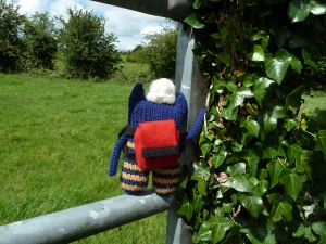 Explorer Beastie on the Fence! CrawCrafts Beasties