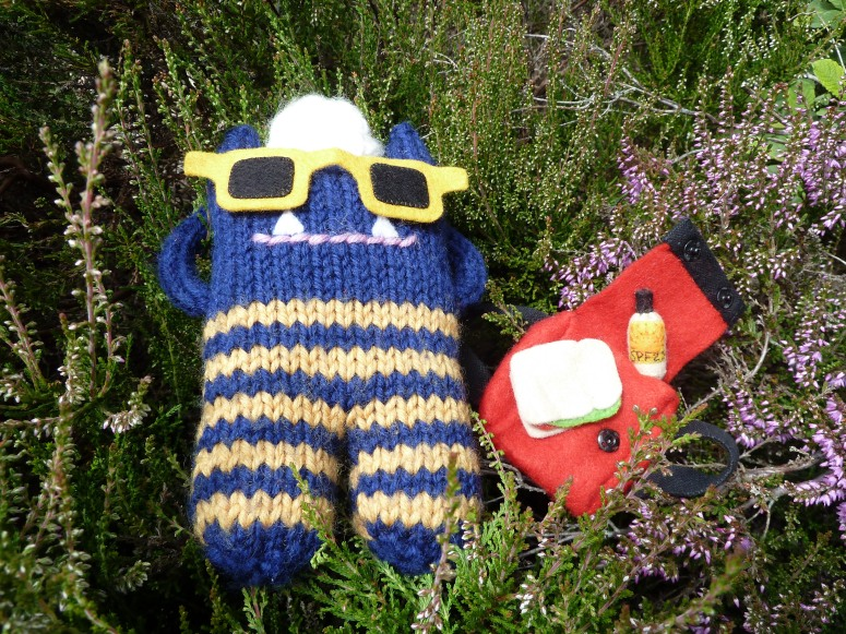 Explorer Beastie Relaxes in the Heather - CrawCrafts Beasties