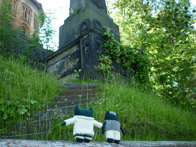 Paddy and Plunkett at the Glasgow Mausoleum - H Crawford/CrawCrafts Beasties