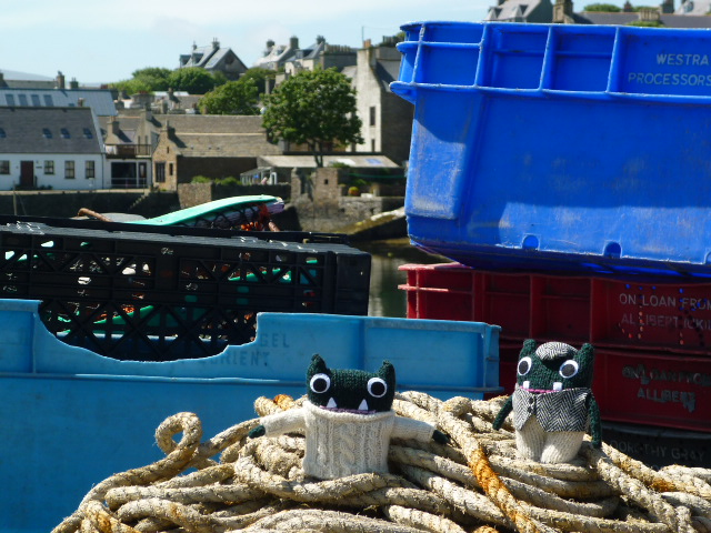 Paddy and Plunkett all at sea in Stromness - H Crawford/CrawCrafts Beasties