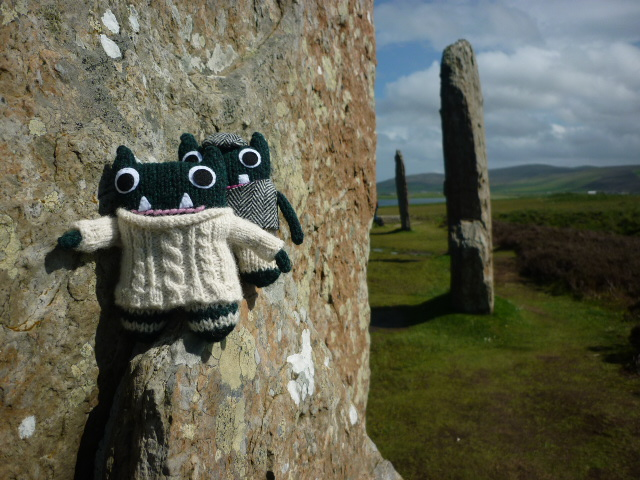 Paddy and Plunkett at the Ring of Brodgar - H Crawford/CrawCrafts Beasties