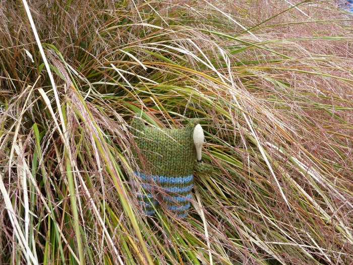 Hurling Beastie loses his ball in the grass - CrawCrafts Beasties