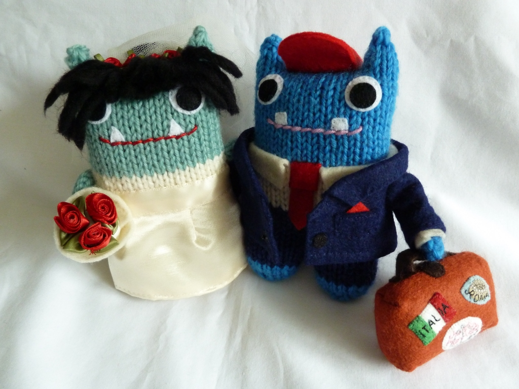 Check out that red and blue wedding colour scheme! CrawCrafts Beasties