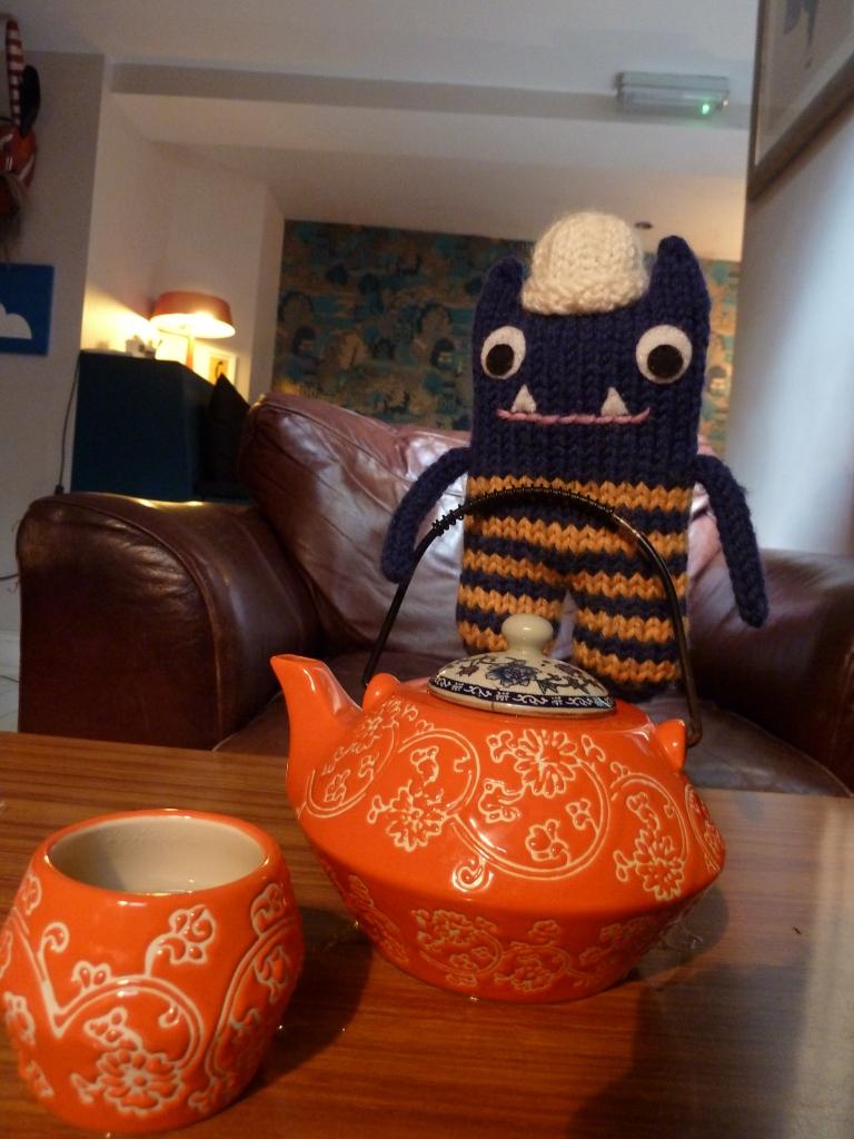 Explorer Beastie Pours the Tea - CrawCrafts Beasties