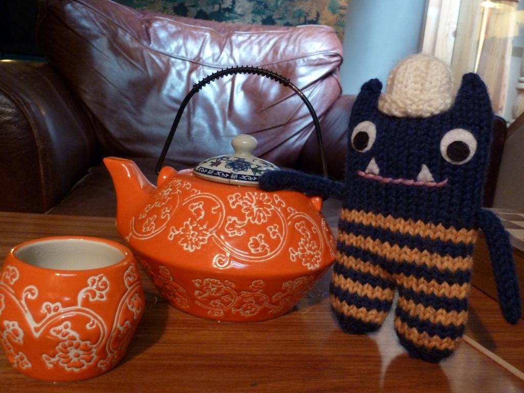 Teatime with Explorer Beastie, by CrawCrafts Beasties