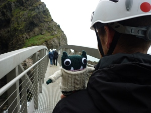 Paddy on one of the Bridges at The Gobbins - H Crawford/CrawCrafts Beasties