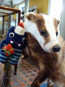 Christmas Gift Beastie Badgers His New Friend for a Photo - CrawCrafts Beasties