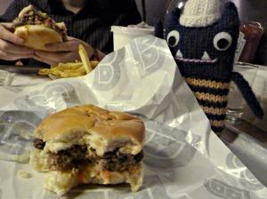 Explorer Beastie With Burger - CrawCrafts Beasties