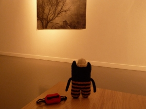 Explorer Beastie Examines a Painting - CrawCrafts Beasties
