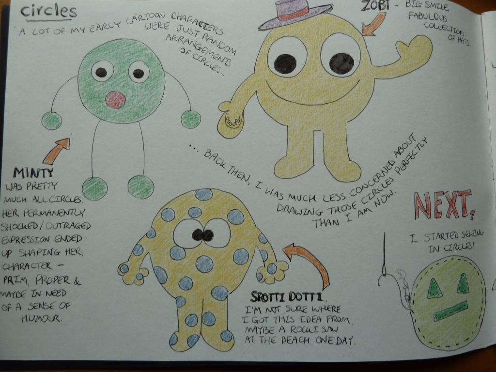 Circles Sketches Page 1 - CrawCrafts Beasties