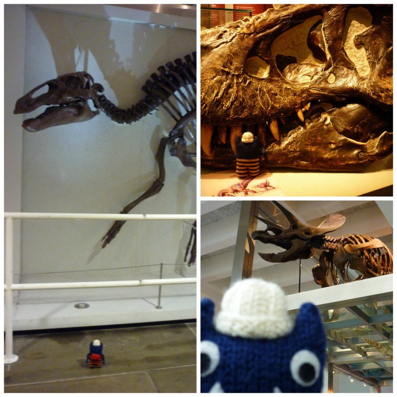 Explorer Beastie with Dinosuars at the Ulster Museum - CrawCrafts Beasties