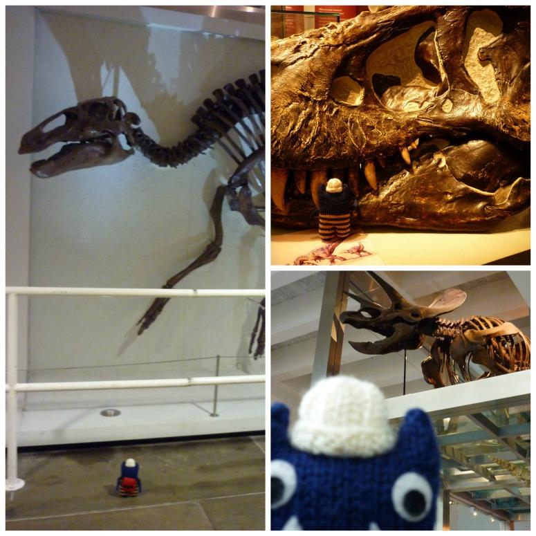 Explorer Beastie with Dinosuars at the Ulster Museum - CrawCrafts Beasties