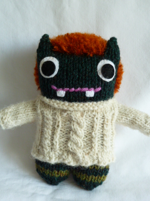 Redhead Beastie Models his Jumper - CrawCrafts Beasties
