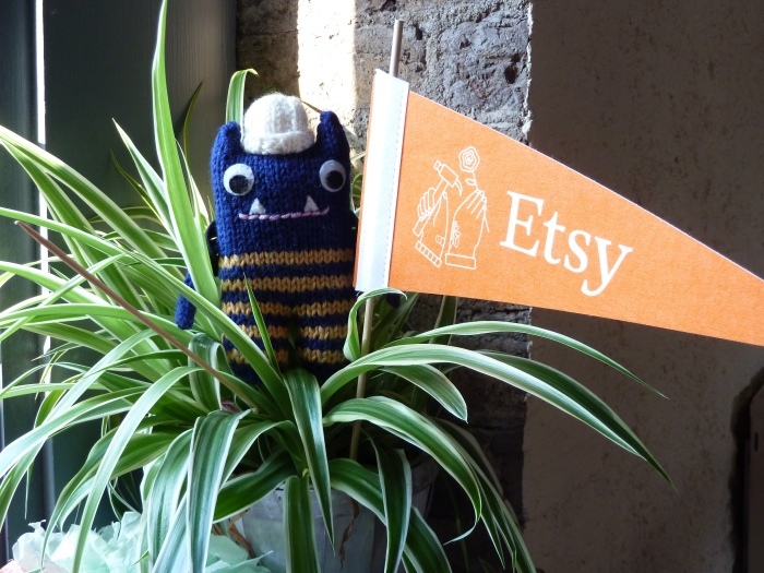 Explorer Beastie at the Etsy Offices - CrawCrafts Beasties