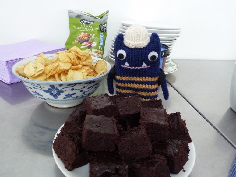 Explorer Beastie Hogging the Flourless Chocolate Cake - CrawCrafts Beasties