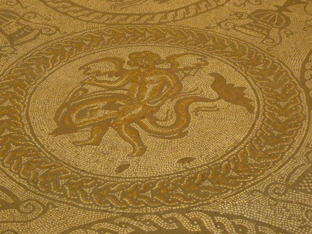 Closeup of the Boy and Dolphin Mosaic at Fishbourne - H Crawford/CrawCrafts Beasties