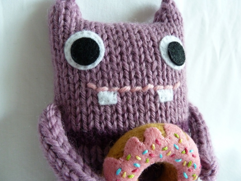 Doughnut Beastie, with his Favourite Treat - CrawCrafts Beasties