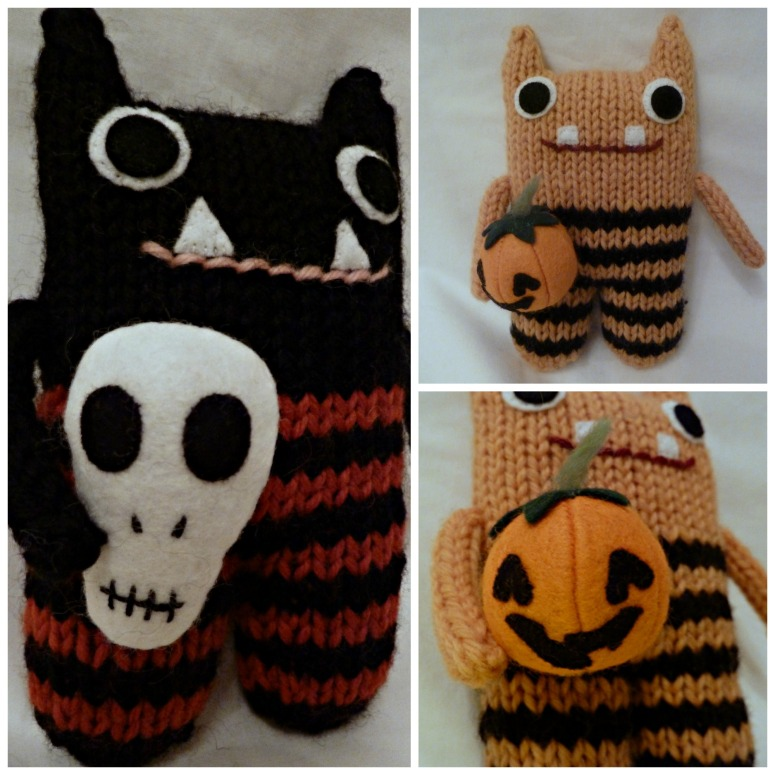 Skull Beastie and Jack O'Lantern Beastie, by CrawCrafts Beasties