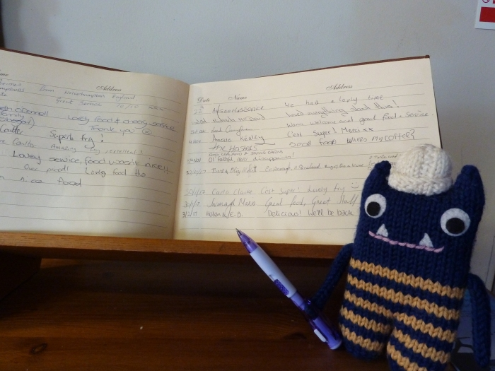 Signing the Visitors' Book - CrawCrafts Beasties