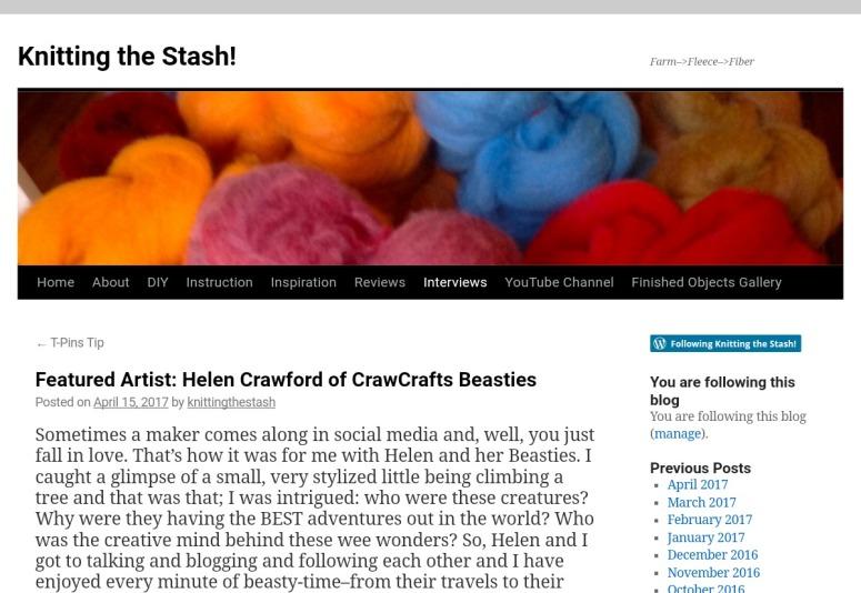 We're on Knitting the Stash! M Littlefield/CrawCrafts Beasties