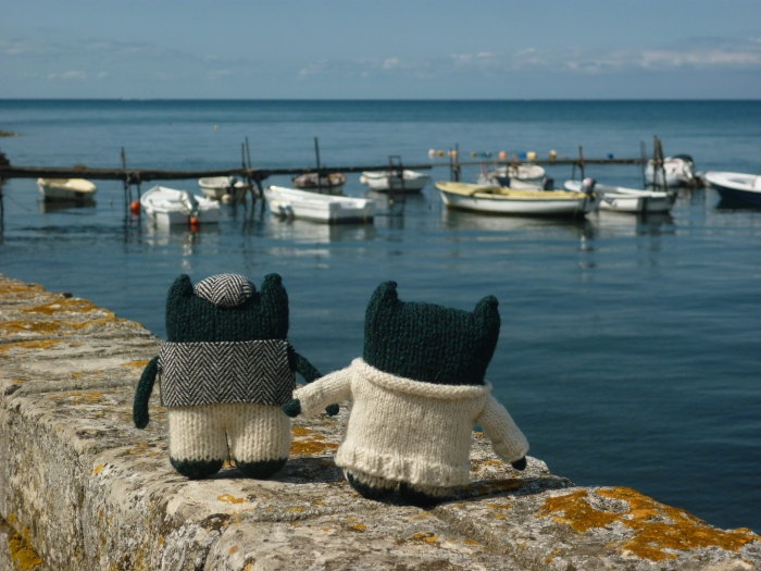 Paddy and Plunkett at Porec Harbour - H Crawford/CrawCrafts Beasties