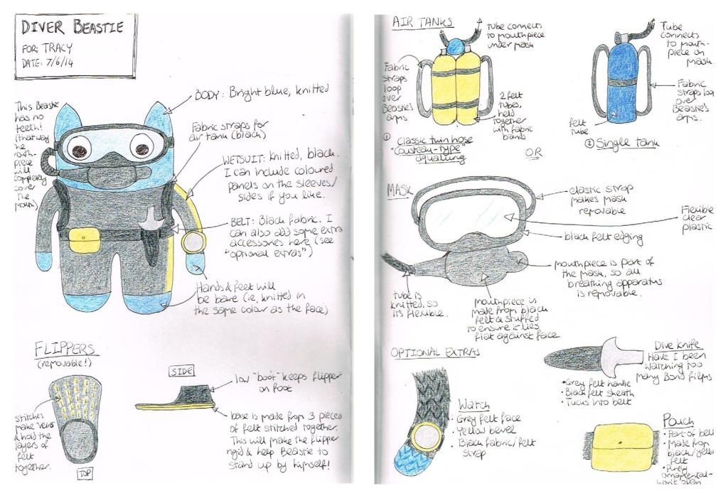 Diver Beastie Sketches - CrawCrafts Beasties