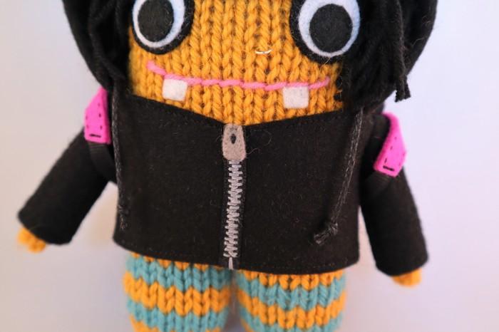 Embroidered Zip Detail - Rock Girl Beastie - CrawCrafts Beasties