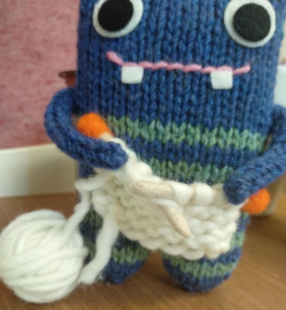Knitting Closeup - Knitter Beastie - CrawCrafts Beasties