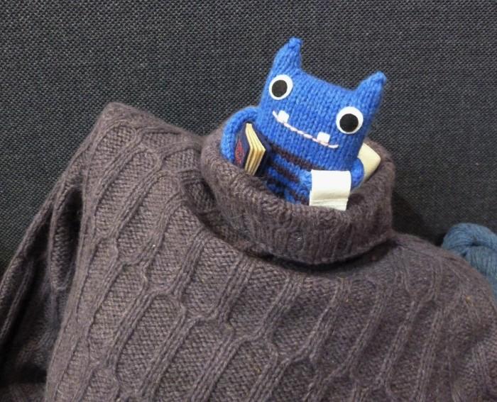 Beastie Modelling the Laitis Sweater - CrawCrafts Beasties, Beastie HQ