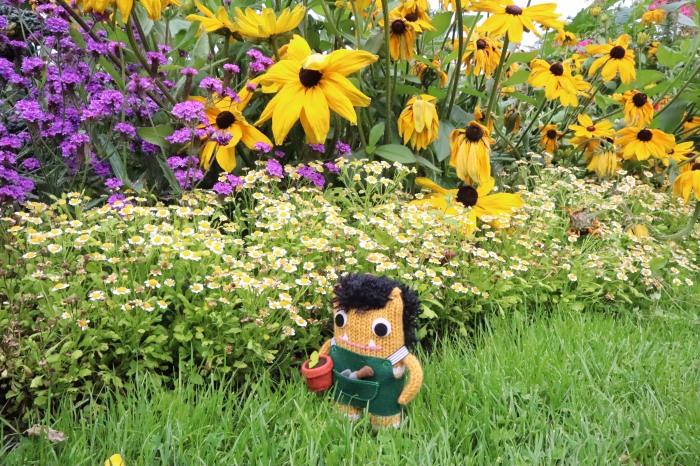 Gardener Beastie in the Botanic Gardens, Dubin - CrawCrafts Beasties
