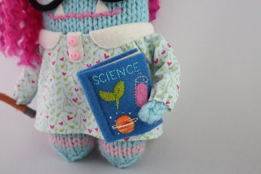 Embroidered Science Book - Sixteenth Birthday Beastie - CrawCrafts Beasties